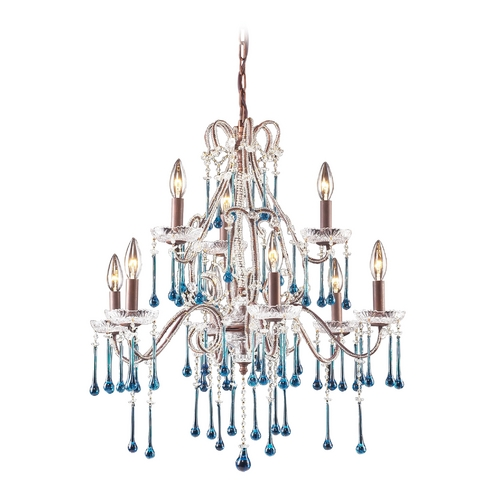 Elk Lighting Crystal Chandelier in Rust Finish 4013/6+3AQ