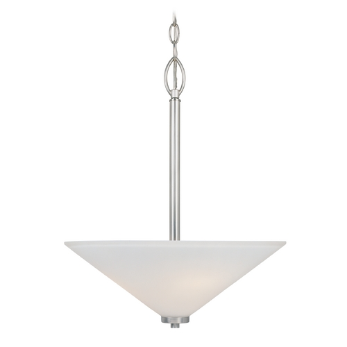 Designers Fountain Lighting Modern Pendant Light with White Glass in Satin Platinum Finish 83531-SP