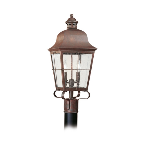 Sea Gull Lighting Post Light with Clear Glass in Weathered Copper Finish 8262-44