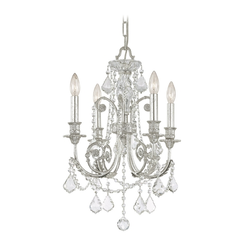Crystorama Lighting Crystal Mini-Chandelier in Olde Silver Finish 5114-OS-CL-MWP