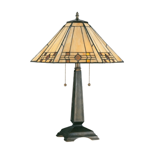 Kenroy Home Lighting Table Lamp with Art Glass in Bronze Finish 33040BRZ