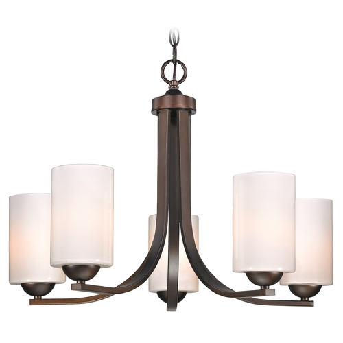Design Classics Lighting Modern 5-Light Chandelier with Opal White Cylinder Glass in Bronze 584-220 GL1024C