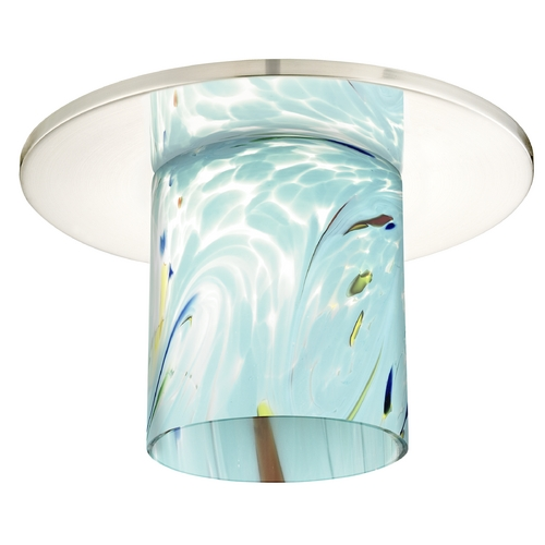 Recesso Lighting by Dolan Designs Decorative Recessed Ceiling Trim with Turquoise Blue Art Glass 10536-26-GL1021