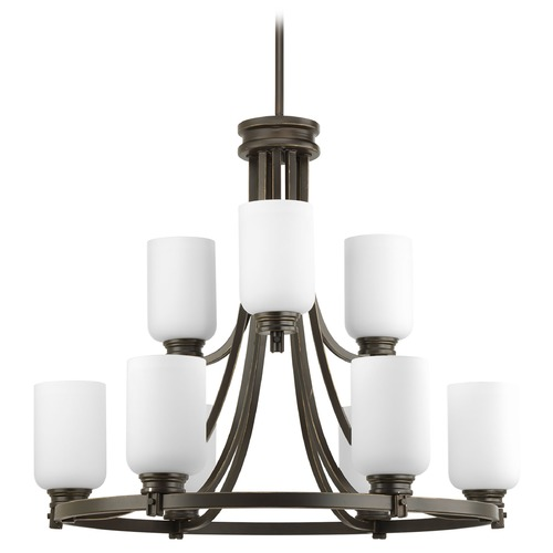 Progress Lighting Progress Chandelier with White Glass in Antique Bronze Finish P4663-20