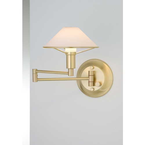 Holtkoetter Lighting Holtkoetter Modern Swing Arm Lamp with White Glass in Brushed Brass Finish 9426 BB TRW