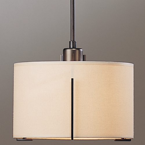 Hubbardton Forge Lighting Hubbardton Forge Lighting Exos Dark Smoke Pendant Light with Drum Shade 139590-SKT-STND-07-SA1099