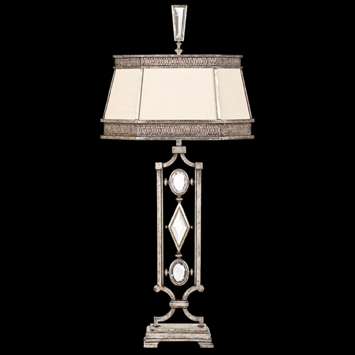 Fine Art Lamps Fine Art Lamps Encased Gems Vintage Silver Leaf Table Lamp with Hexagon Shade 729810-3ST