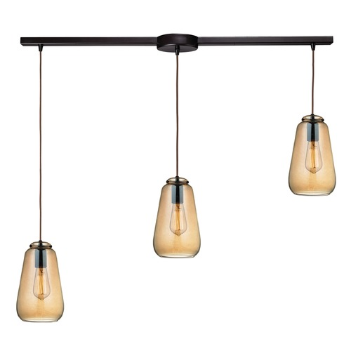 Elk Lighting Elk Lighting Orbital Oil Rubbed Bronze Multi-Light Pendant with Bowl / Dome Shade 10433/3L