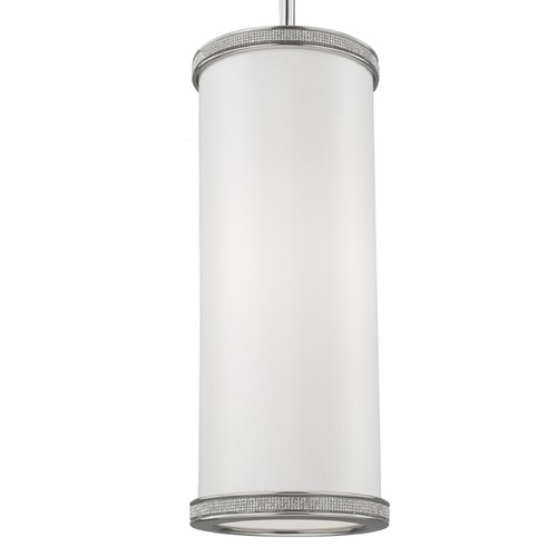 Feiss Lighting Feiss Pave Polished Nickel Mini-Pendant Light with Cylindrical Shade P1330PN