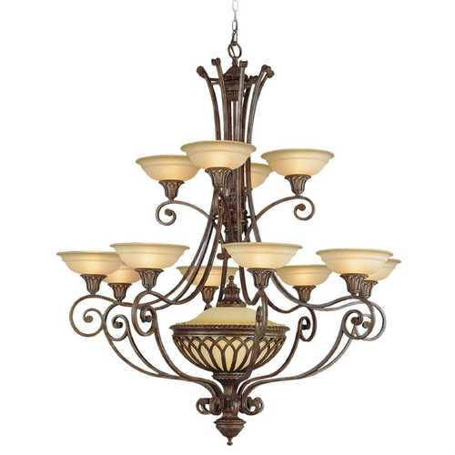 Feiss Lighting Chandelier with White Glass in British Bronze Finish F1918/12+1BRB