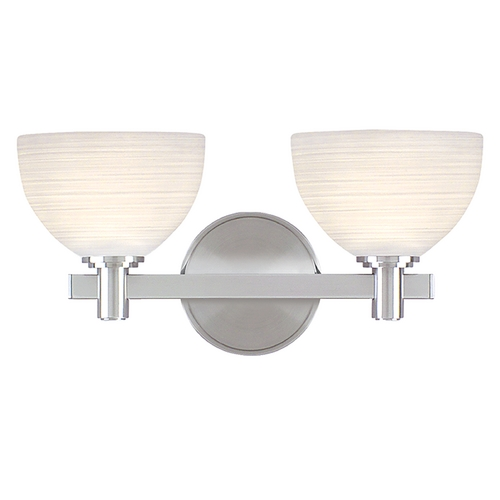 Hudson Valley Lighting Modern Bathroom Light with White Glass in Satin Nickel Finish 1402-SN