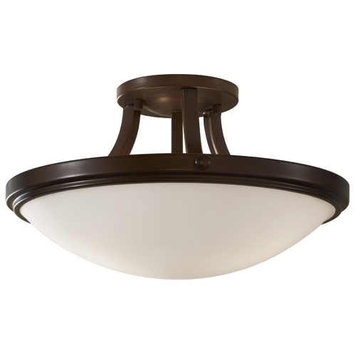 Feiss Lighting Modern Semi-Flushmount Light with White Glass in Heritage Bronze Finish SF283HTBZ