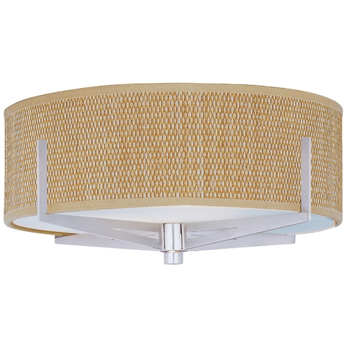 ET2 Lighting Modern Flushmount Light with Brown Shades in Satin Nickel Finish E95400-101SN