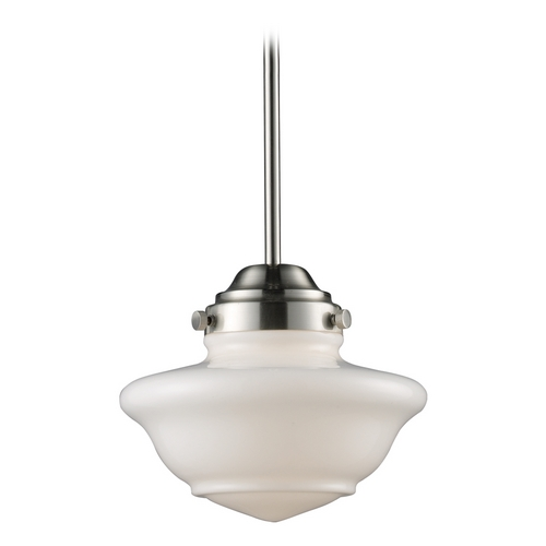 Elk Lighting Schoolhouse Mini-Pendant Light with White Glass 69042-1