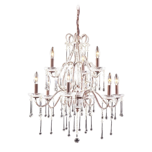 Elk Lighting Crystal Chandelier in Rust Finish 4013/6+3CL