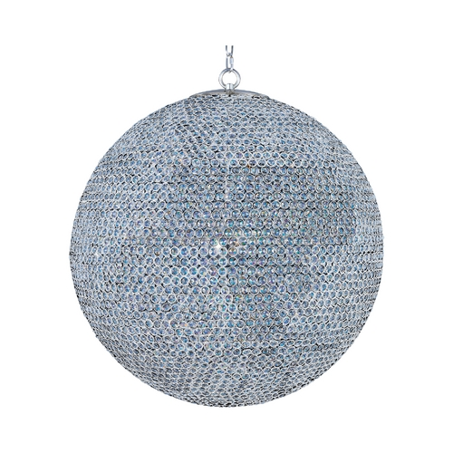 Maxim Lighting Maxim Lighting Glimmer Plated Silver Pendant Light with Globe Shade 39888BCPS
