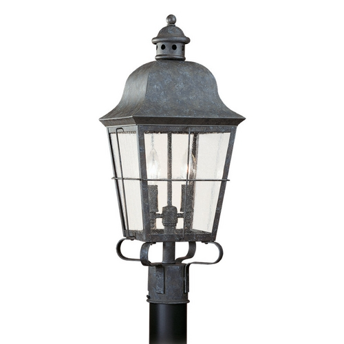 Sea Gull Lighting Post Light with Clear Glass in Oxidized Bronze Finish 8262-46