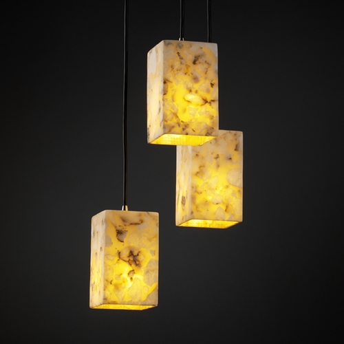 Justice Design Group Justice Design Group Alabaster Rocks! Collection Multi-Light Pendant ALR-8864-15-NCKL