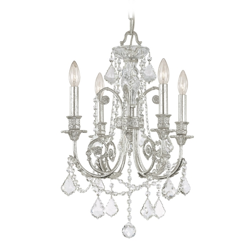 Crystorama Lighting Crystal Mini-Chandelier in Olde Silver Finish 5114-OS-CL-S