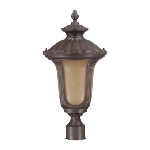Nuvo Lighting Post Light with Amber Glass in Fruitwood Finish 60/3909