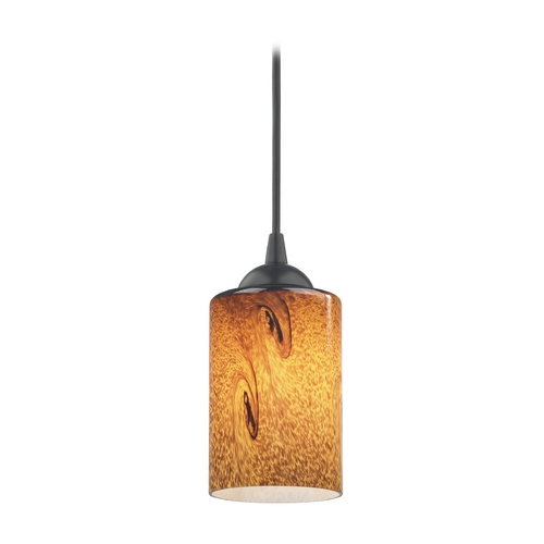 Design Classics Lighting Modern Mini-Pendant Light with Brown Art Glass 582-07 GL1001C