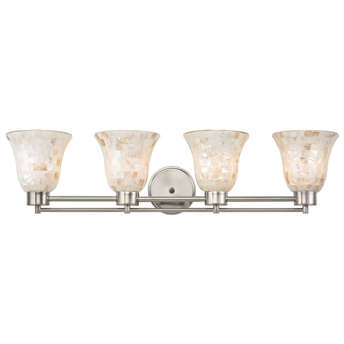 Design Classics Lighting Bathroom Light with Mosaic Glass in Satin Nickel Finish 704-09 GL9222-M