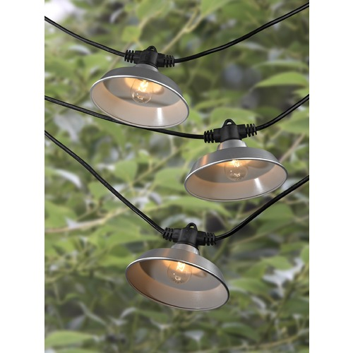 Design Classics Lighting String Lights with Galvanized RLM Shades - 35 Ft Long with 21 Lights 3521 S358-GP