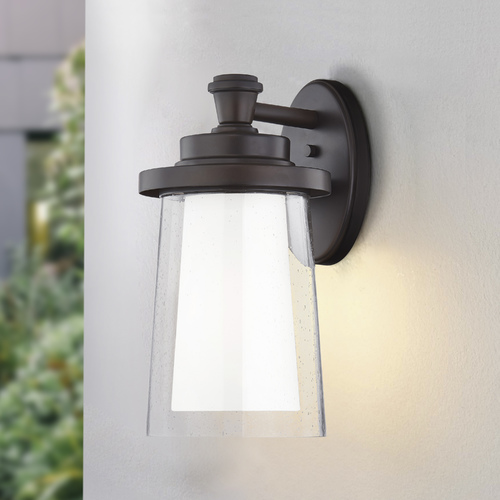 Design Classics Lighting Design Classics Shelter Burnished Bronze Outdoor Wall Sconce with Seeded and Satin Glass 1886-BBZ