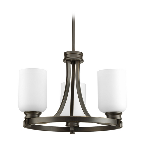 Progress Lighting Progress Chandelier with White Glass in Antique Bronze Finish P3954-20