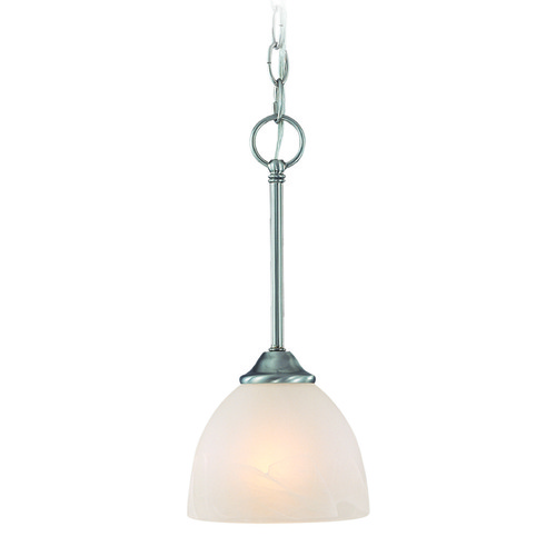 Jeremiah Lighting Jeremiah Raleigh Satin Nickel Mini-Pendant Light with Bowl / Dome Shade 25321-SN