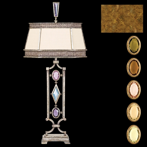Fine Art Lamps Fine Art Lamps Encased Gems Gold Leaf Table Lamp with Hexagon Shade 730310-1ST