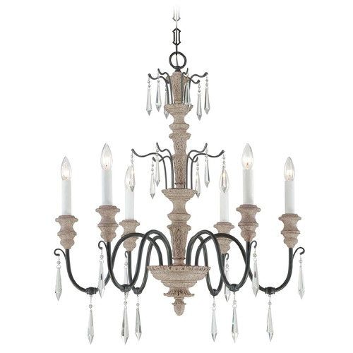 Savoy House Savoy House Distressed White Wood and Iron Crystal Chandelier 1-4340-6-192