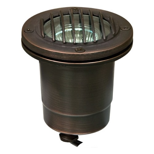 Dabmar Lighting Weathered Brass Solid Brass In-Ground Well Light with Grill LV24-WBS