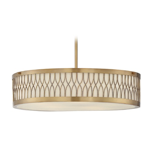 Savoy House Savoy House Lighting Spinnaker Warm Brass Pendant Light with Drum Shade 7-111-5-322