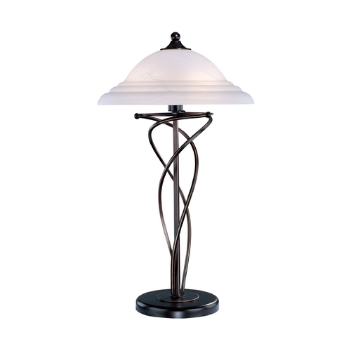 Lite Source Lighting Modern Table Lamp with Alabaster Glass in Dark Bronze Finish LS-3640D/BRZ