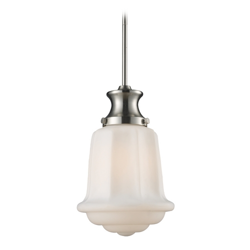 Elk Lighting Schoolhouse Mini-Pendant Light with White Glass 69043-1