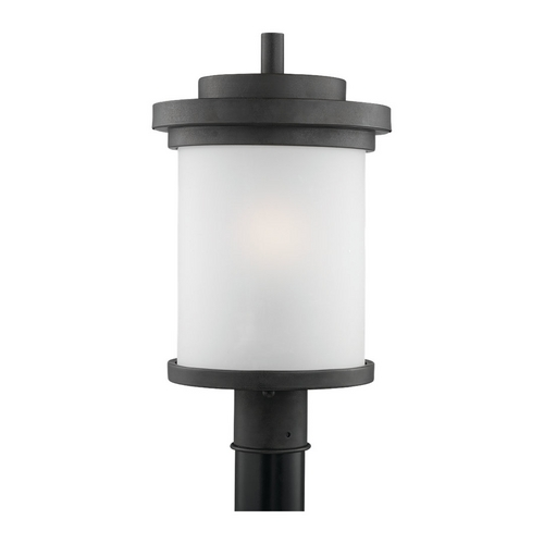 Sea Gull Lighting Modern Post Light with White Glass in Forged Iron Finish 82660-185
