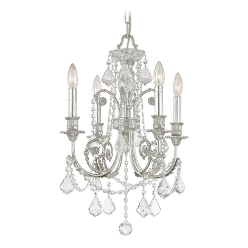 Crystorama Lighting Crystal Mini-Chandelier in Olde Silver Finish 5114-OS-CL-SAQ