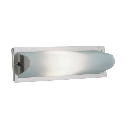 PLC Lighting Modern Bathroom Light with White Glass in Satin Nickel Finish 782 SN
