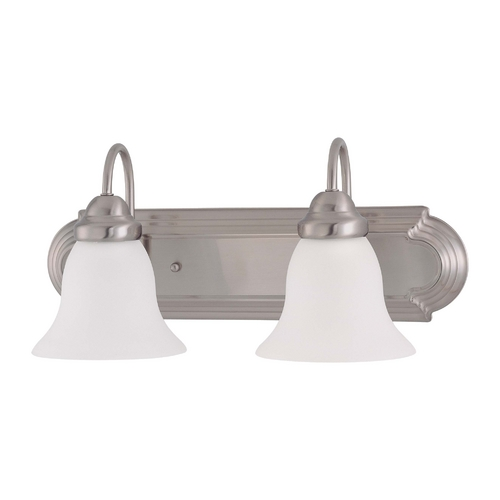 Nuvo Lighting Bathroom Light with White Glass in Brushed Nickel Finish 60/3322