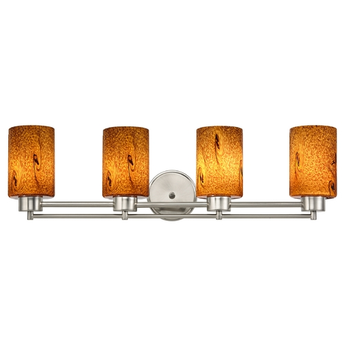 Design Classics Lighting Modern Bathroom Light with Brown Art Glass in Satin Nickel Finish 704-09 GL1001C