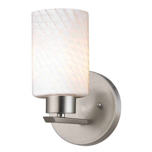 Design Classics Lighting Modern Sconce Wall Light with White Glass in Satin Nickel Finish 1124-1-09 GL1020C