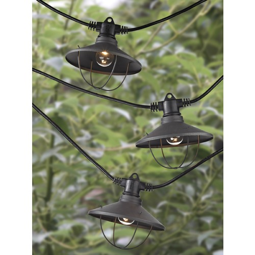 Design Classics Lighting String Lights with Cage RLM Shades - 35 Ft Long with 21 Lights 3521 S359-EBZ
