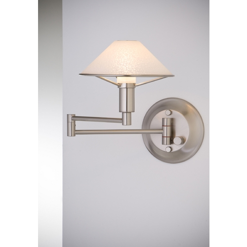 Holtkoetter Lighting Holtkoetter Modern Swing Arm Lamp with White Glass in Satin Nickel Finish 9426 SN SW