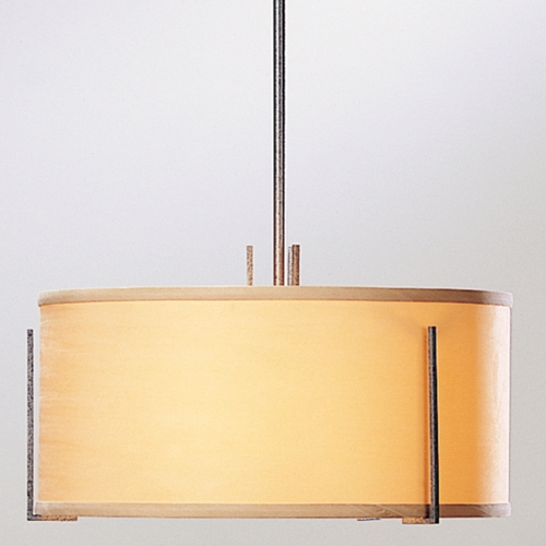 Hubbardton Forge Lighting Hubbardton Forge Lighting Exos Natural Iron Pendant Light with Drum Shade 139600-20AB