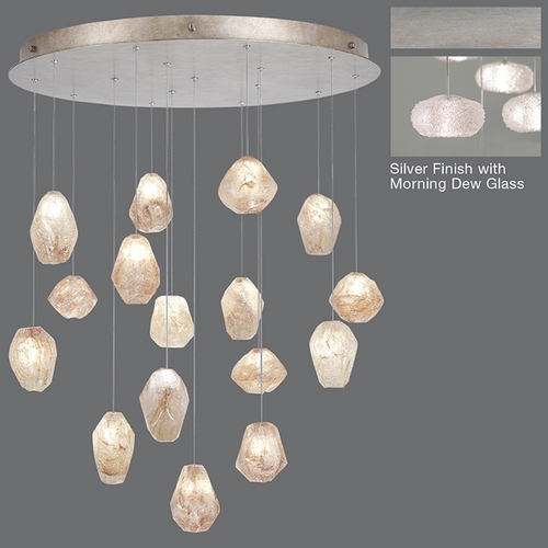 Fine Art Lamps Fine Art Lamps Natural Inspirations Platinized Silver Leaf Multi-Light Pendant with Oblong Shade 862840-12ST