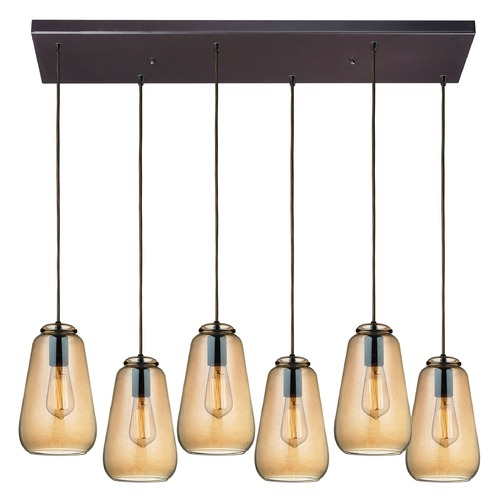 Elk Lighting Elk Lighting Orbital Oil Rubbed Bronze Multi-Light Pendant with Bowl / Dome Shade 10433/6RC