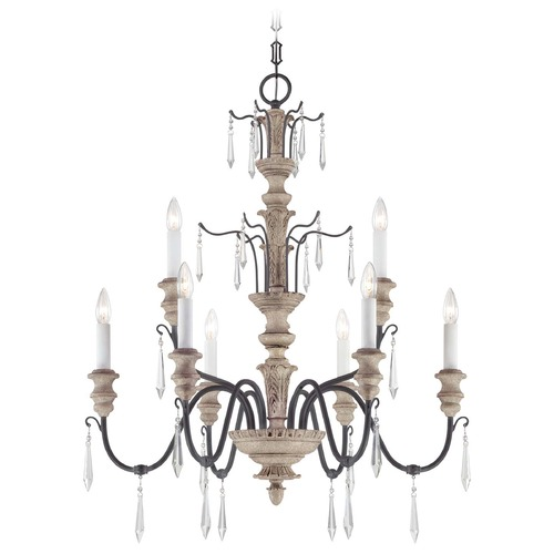 Savoy House Savoy House Distressed White Wood and Iron Crystal Chandelier 1-4341-9-192
