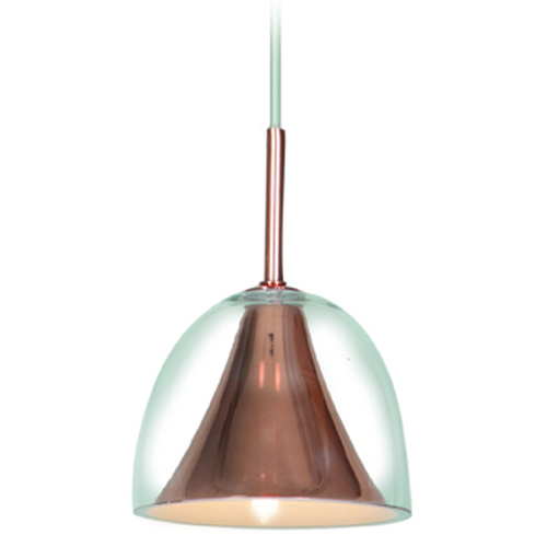 Access Lighting Access Lighting Metalico Rose Gold Mini-Pendant Light with Bowl / Dome Shade 50147-RGLD/CLR