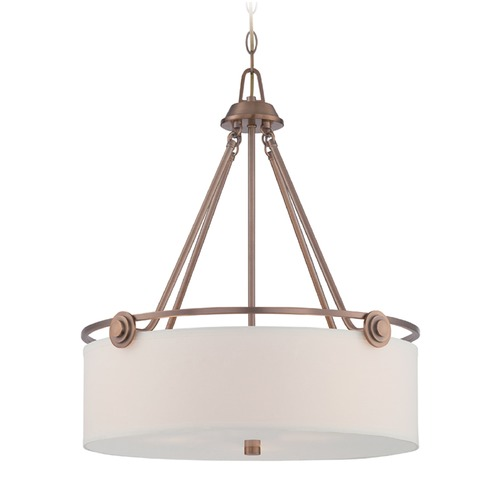 Designers Fountain Lighting Designers Fountain Gramercy Park Old Satin Brass Pendant Light with Drum Shade 87131-OSB